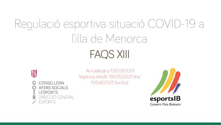 FAQS XIII – Regulació esportiva situació COVID-19 a l'illa de Menorca